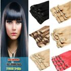 """15"""" 18"""" 20"""" 22"""" Clip In Remy Real Human Hair Extensions 7pcs Clip-on Sew Weft 7A"""