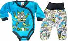 BNWT Baby Toddler Boys *2 Pieces Set of Babygrow & Trousers with feet*0-3 Months