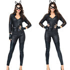 Women Cat Leather Black Catwoman Halloween Christmas Carnival Adult Costume ST