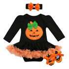 3Pcs/Set Girls Infant Baby Halloween Costume Romper Dress Headband Shoes Outfits