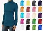 Womens Turtle Polo Neck Jumper Top Long Sleeve UK Plus Sizes 8-28