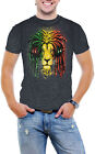 Jamica Lion Rastra Men Acid Wash T-Shirt Soft Cotton Short Sleeve Tee (Assorted