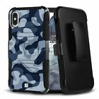 URBAN CAMO NAVY Hybrid Belt Clip Case for iPhone 12 11 XS MAX XR 8 7 6 Series