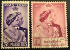 Mauitius 1948 Royal Silver Wedding Fine Used Set of 2. SG270-271. Cat £42.