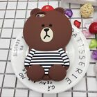 Hot Fashion 3D Cool Bear Cartoon Soft Silicon Case Cover Back For Various Phones
