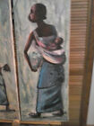 A pair of original African folk naive vitage oil painting signed by artist .