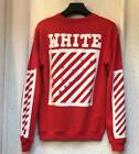 Hot Sell Mens Sweater white Stripes Printing Round Coat Unisex Jacket Red S-XL