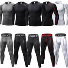 Men Compression Thermal Base Layer Tights T-Shirt Top Long Pants Gym Activewear