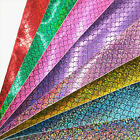 A4 Holographic Mermaid Fabric Sequin Faux Leather Leatherette DIY Bow Craft Roll