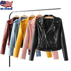 Women's Autumn Winter PU Leather Biker Jacket Coat Short Pun