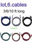 ✔6 Pack 6Ft for Lightning Cable Heavy Duty Iphone 8 7 6 x 5Charger Charging Cord