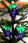 Set of 3 Small Purple Bunch Grapes Blown Glass Christmas Tree Ornaments  Germany