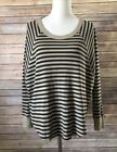 We The Free Free Ppeople Size XS Gray Striped Thermal Slauchy Taupe Knit Top