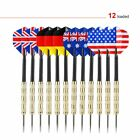OUTAD 12 pcs Stainless Steel Throw Tip Darts with National Flag Flights USA