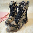 Womens Lace Up High Top Camouflage Casual Motorcycle Ankle Boots Militray Shoes