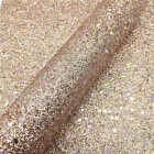 Multi Color Stars Fine Glitter Fabric Sparkle Faux Leather Bow Craft Material