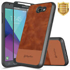 For Samsung Galaxy J7 Perx/J7 2017 Case | Leather Back Shockproof Canvas Cover