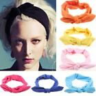 1 pc Women Fashion Elastic Stretch Plain Rabbit Bow Style Hair Headband Turban h