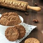 Christmas Embossing Rolling Pin Engraved Rolling Pin Wooden Baking Cookies Tool