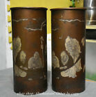28CM Old Chinese Bronze Dynasty Pine Tree People Man Brush Pot Pencil Vase pair