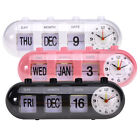 Digital Retro Quartz Alarm Clock Flip Date & Day & Time Display Black/White/Pink