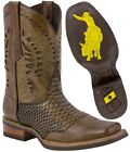 Mens Sand Western Leather Cowboy Boots Square Toe Python Pattern Overlay