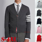 Men Thom Classic Short V-Neck 4 Bar Browne Cardigan Cashmere Sweater Women Tops
