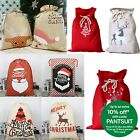 Christmas Canvas Hessian Santa Reindeer Sack Xmas Stocking Kids Gift Bag Storage