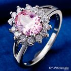 Classic Style Pink C.Z Women Real White Gold Plated Wedding Rings Size 5