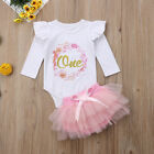 US Infant Baby Girls First Birthday Outfits Clothes Romper+Tulle Short Pants Set