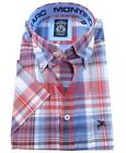 MARC MONTINO HERRENHEMD KURZARM Button Down Kragen Gr. M XL blau rot weiss