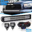 22'' 120W LED Work Light Bar Spot Flood Combo For Offroad Tacoma Lamp+FREE 2X18W