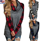 Women's Long Sleeve Plaid Patchwork Turtleneck Casual Tunic Tops Blouse Pullover