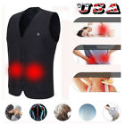 Electric Vest Heated Sleeveless Jacket USB Thermal Warm Heated Pad Body Warmer S