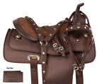 Brown Synthetic Cordura Barrel Trail Western Horse Saddle Tack 14