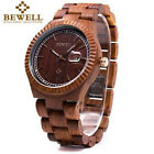 Bewell Mens Wood Watch Women Analog Quartz Wooden Wrist Watches Xmas Gift Unisex image