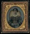 Vintage 1800's 1/9th Plate Tintype Seated Young Woman Patterned Dress/Half Case