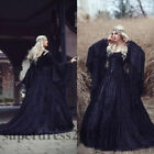 Gothic Lace Black Wedding Dresses Long Sleeve Victorian Medieval Bridal Gown