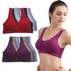 US Women Seamless Comfort Padded Yoga Sports Stretch Bra Crop Top Vest Sleep Bra