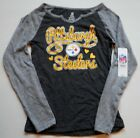 PITTSBURGH STEELERS GIRLS GRAPIC LONG SLEEVE T SHIRT M L GRAY COTTON BLEND NWT $24.99 USD on eBay