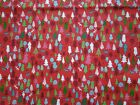 Cotton Fabric Festive Pattern Christmas Trees Reindeer Red and Green 100% Cotton