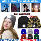 Unisex Beanies Hat 4 LED Head Light Knitted Baggy Hat Camping Running Xmas Gift
