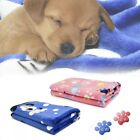 Pet Small Large Paw Print Dog Puppy Cat Kitten Warm Soft Sofa Blanket Beds Mat