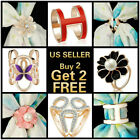 16+ Styles Trio Scarf Ring Buckle Clip Brooch Gold Silver Crystal Plated Flower