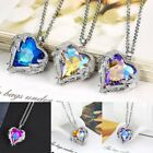 1pc Angel Wing Long Chain Necklace Heart Rhinestone Crystal Shining Jewelry Gift