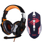 Gaming Headset Optical USB Mouse Set Wired Headphone LED Mice Computer Gamer Kit