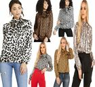 Ladies Animal Fendi Snake Leopard Print Top Womens Tie Up Bow Blouse Shirt