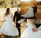 Plus Size Lace Wedding Dresses Long Sleeves Applique Country Bridal Gowns Custom