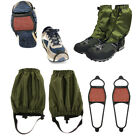 2 Pairs Waterproof Gaiters Leggings + Camping Walking Boot Traction Cleats
