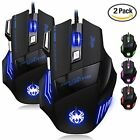 Jiale 2 Pack Professional LED Optical 7200 DPI 7 Button USB Wired Gaming Mous...